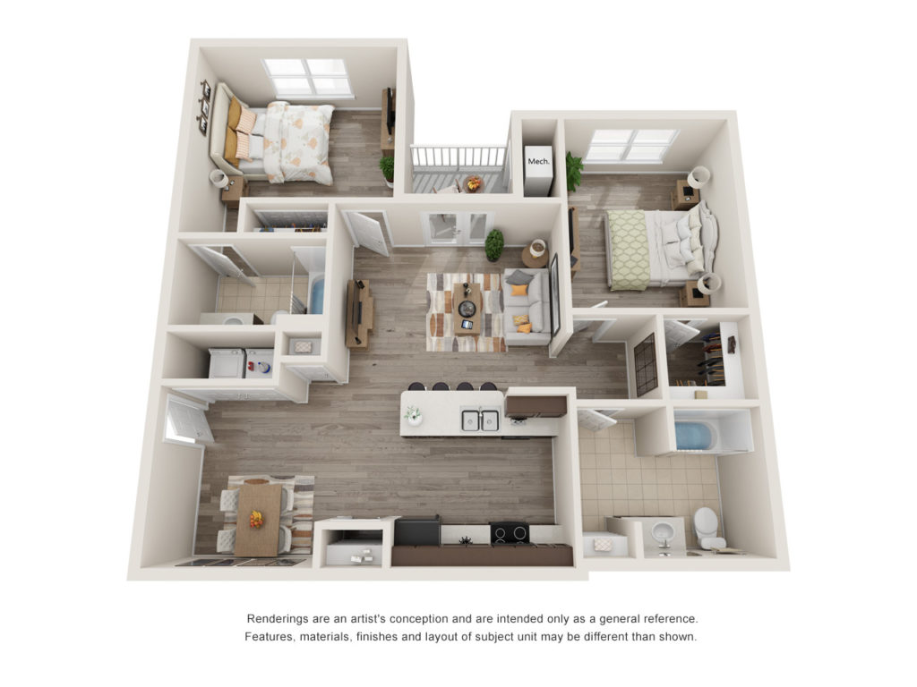 Menchaca 2 Bedroom Floorplan