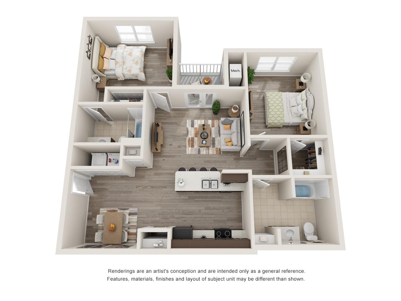 Menchaca 2 Bedroom Floorplan