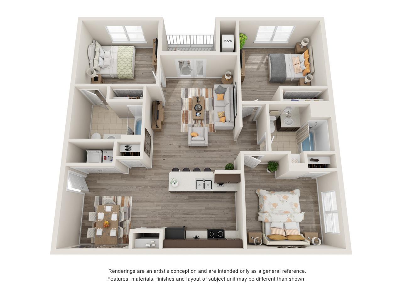 Menchaca 3 Bedroom Floorplan